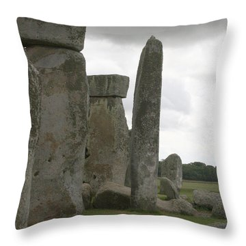 Stonehenge Side Pillars Throw Pillow by Mary Mikawoz