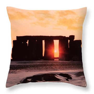 Stonehenge Winter Solstice Throw Pillow by English School
