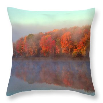Stoneledge Lake Pristine Beauty In The Fog Throw Pillow by Terri Gostola