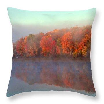 Stoneledge Lake Pristine Beauty In The Fog Throw Pillow
