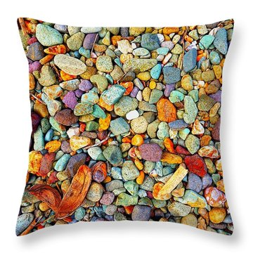 Stones And Barks On Beach Throw Pillow