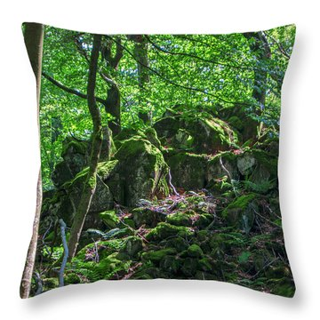 Stones In A Forest In Vogelsberg Throw Pillow
