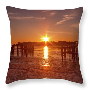Throw Pillow featuring the photograph Stonington Harbor Sunset On Ice by Kirkodd Photography Of New England