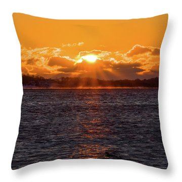 Throw Pillow featuring the photograph Stonington Point Sunrise by Kirkodd Photography Of New England