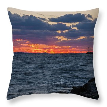 Throw Pillow featuring the photograph Stonington Point Sunset by Kirkodd Photography Of New England