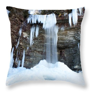Throw Pillow featuring the photograph Stony Kill Falls In February #1 by Jeff Severson