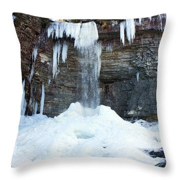 Throw Pillow featuring the photograph Stony Kill Falls In February #2 by Jeff Severson