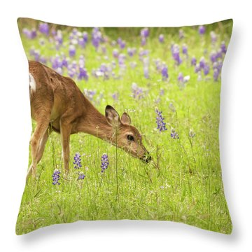 Stop And Smell The Bluebonnets. Throw Pillow