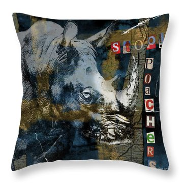 Stop Rhino Poachers Wildlife Conservation Art Throw Pillow