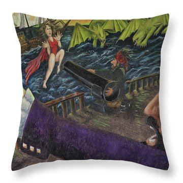 Stopping The Pirate Throw Pillow