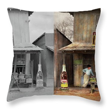 Throw Pillow featuring the photograph Store - Grocery - Mexicanita Cafe 1939 - Side By Side by Mike Savad
