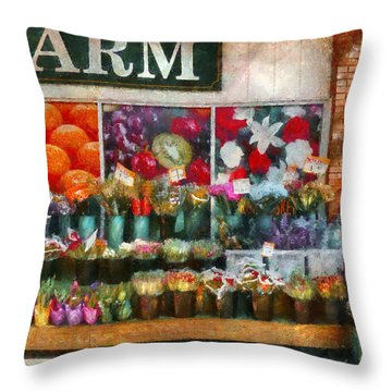 Store - Westfield Nj - The Flower Stand Throw Pillow by Mike Savad