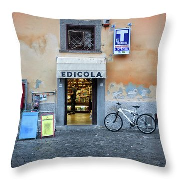 Storefront In Rome Throw Pillow