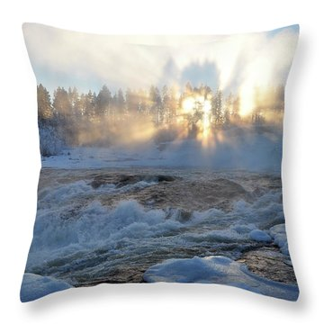 Storforsen, Biggest Waterfall In Sweden Throw Pillow