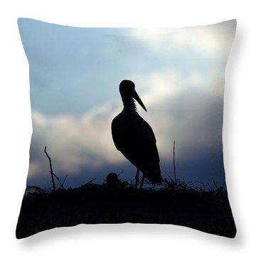 Stork In Evening Light Throw Pillow