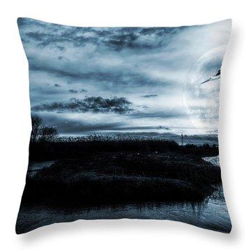 Stork In Moonlight Throw Pillow