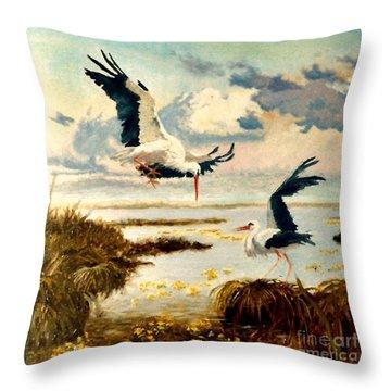 Storks II Throw Pillow by Henryk Gorecki