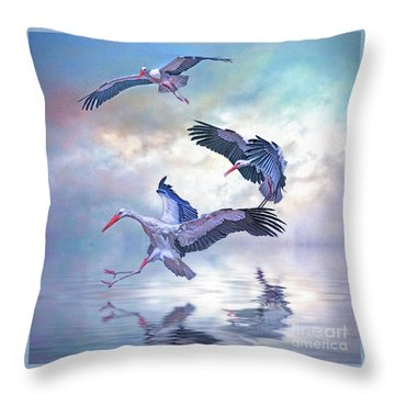 Storks Landing Throw Pillow by Brian Tarr
