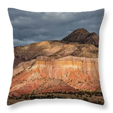 Storm Above Ghost Ranch Mountains Throw Pillow