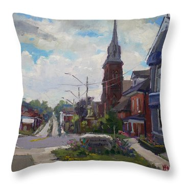 Storm Approach Over Downtown Georgetown Throw Pillow