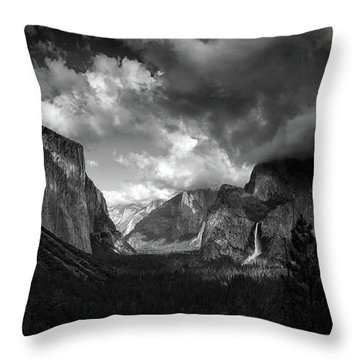 Storm Arrives In The Yosemite Valley Throw Pillow