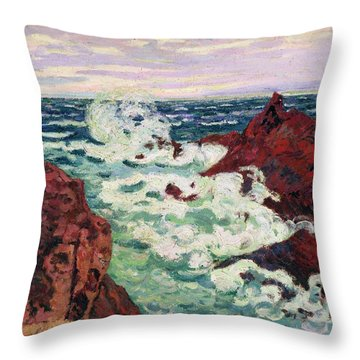 Storm At Agay Throw Pillow by Jean Baptiste Armand Guillaumin