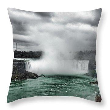 Storm At Niagara Throw Pillow