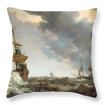 Storm At Sea Throw Pillow by Bonaventura Peeters