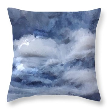 Throw Pillow featuring the painting Storm At Sea by Mark Taylor