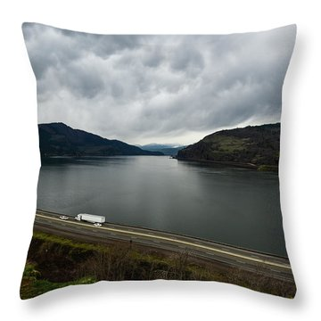 Storm Brewing On The Columbia Throw Pillow