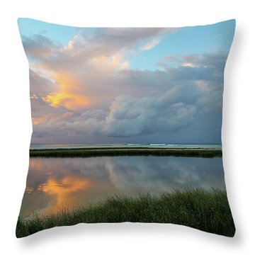 Storm Cloud Reflections At Sunset Throw Pillow
