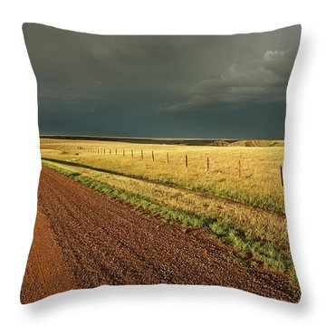 Storm Clouds Along A Saskatchewan Country Road Throw Pillow by Mark Duffy