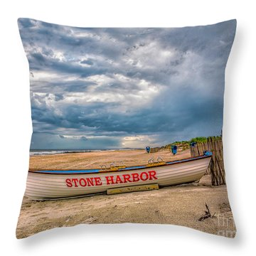 Storm Clouds In Stone Harbor Throw Pillow