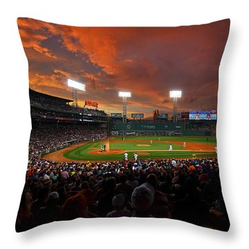 Storm Clouds Over Fenway Park Throw Pillow