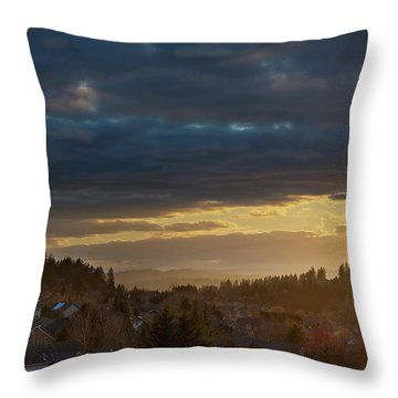 Storm Clouds Over Happy Valley During Sunset Throw Pillow by David Gn