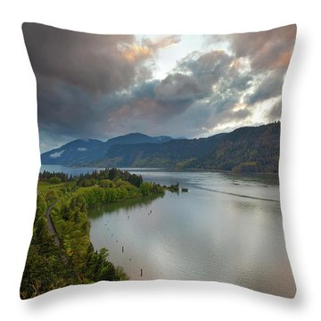 Storm Clouds Over Hood River Throw Pillow by David Gn