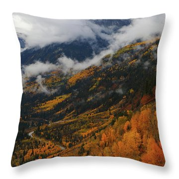 Storm Clouds Over Mcclure Pass During Autumn Throw Pillow by Jetson Nguyen
