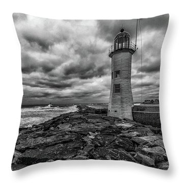 Storm Clouds Over Old Scituate Lighthouse In Black And White Throw Pillow