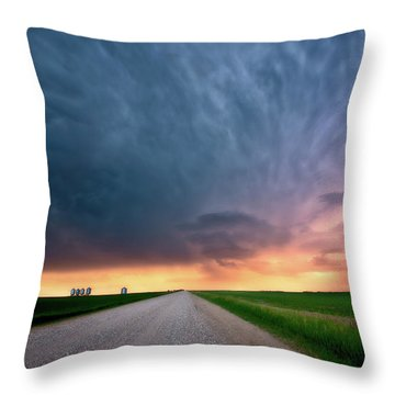 Storm Clouds Over Saskatchewan Country Road Throw Pillow by Mark Duffy