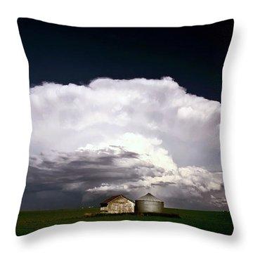Storm Clouds Over Saskatchewan Granaries Throw Pillow by Mark Duffy