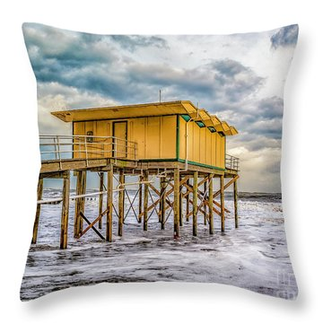 Throw Pillow featuring the photograph Storm Clouds Over The Ocean by Nick Zelinsky