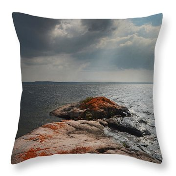 Storm Clouds Over Wall Island Throw Pillow