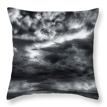 Storm Clouds Ventura Ca Pier Throw Pillow