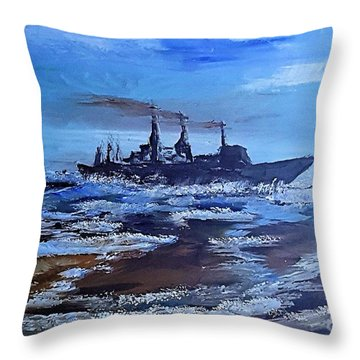 Storm Freighter Throw Pillow