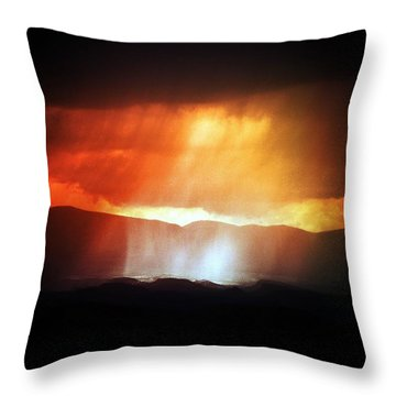 Throw Pillow featuring the photograph Storm Glow Night Over Santa Fe Mountains by Joseph Frank Baraba