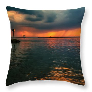Storm In Lorain Ohio At The Lighthouse Throw Pillow