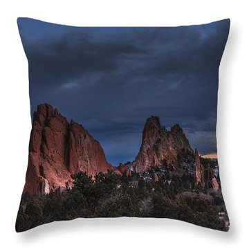 Storm In The Garden Of The Gods Throw Pillow