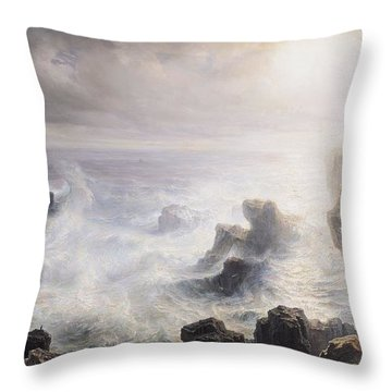 Storm Off The Coast Of Belle Ile Throw Pillow by Jean Antoine Theodore Gudin