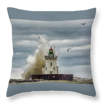 Storm On Lake Erie Throw Pillow