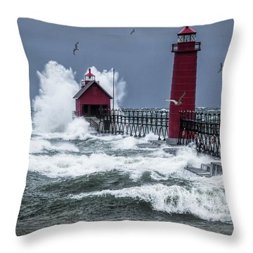 Storm On Lake Michigan By The Grand Haven Lighthouse With Flying Gulls Throw Pillow